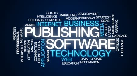 güncelleştirme : Publishing software animated word cloud, text design animation. Stok Video
