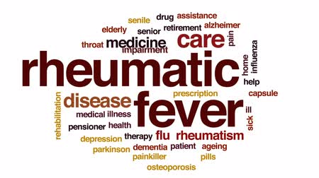 garganta : Rheumatic fever animated word cloud, text design animation. Stock Footage