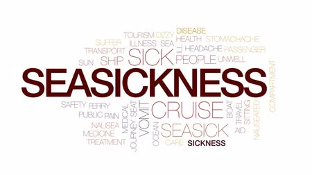 açı : Seasickness animated word cloud, text design animation. Kinetic typography. Stok Video