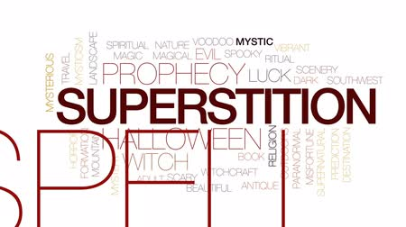 boszorkány : Superstition animated word cloud, text design animation. Kinetic typography. Stock mozgókép