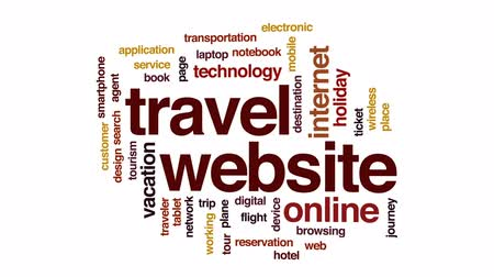 bilet : Travel website animated word cloud, text design animation.