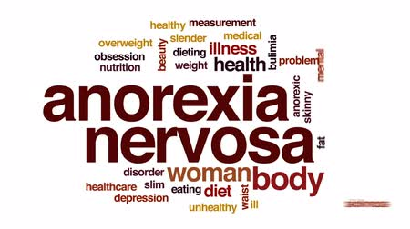obsession : Anorexia nervosa animated word cloud, text design animation. Stock Footage