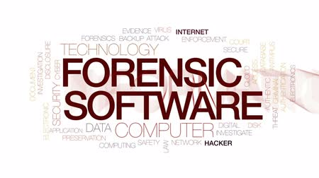 evidência : Forensic software animated word cloud, text design animation. Kinetic typography.