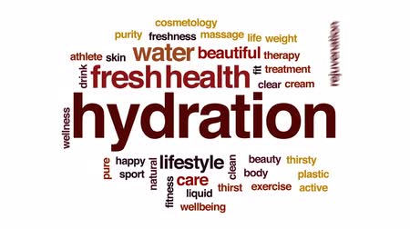 vodní sporty : Hydration animated word cloud, text design animation.