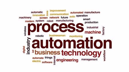 automatyka : Process automation animated word cloud, text design animation. Wideo