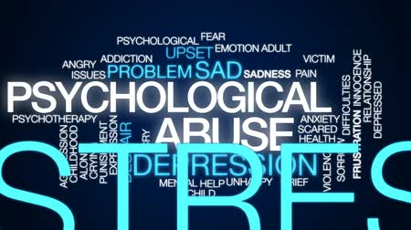 preocupar se : Psychological abuse animated word cloud, text design animation.