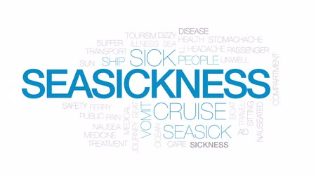 vomit : Seasickness animated word cloud, text design animation. Kinetic typography. Stock Footage