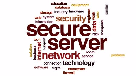 server room : Secure server animated word cloud, text design animation. Stock Footage
