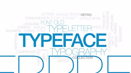 tipo baskı : Typeface animated word cloud, text design animation. Kinetic typography.