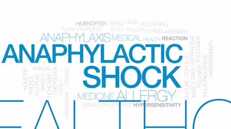 шок : Anaphylactic shock animated word cloud, text design animation. Kinetic typography.