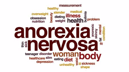 nervosa : Anorexia nervosa animated word cloud, text design animation. Stock Footage