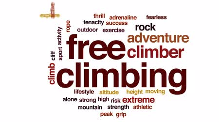 альпинист : Free climbing animated word cloud, text design animation. Стоковые видеозаписи