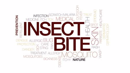 царапина : Insect bite animated word cloud, text design animation. Kinetic typography.