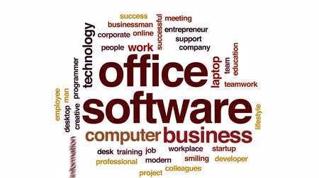 trabalho em equipe : Office software animated word cloud, text design animation.
