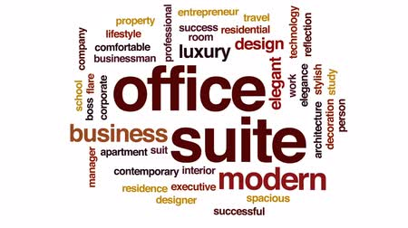 suite : Office suite animated word cloud, text design animation.