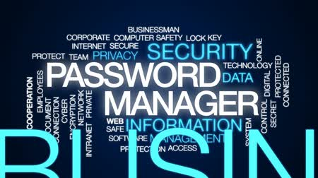 şifreleme : Password manager animated word cloud, text design animation.