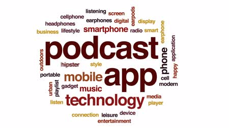 playlist : Podcast app animated word cloud, text design animation.