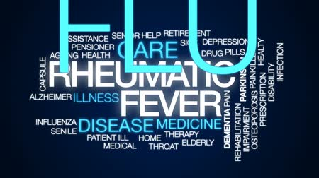 influenza : Rheumatic fever animated word cloud, text design animation. Stock Footage