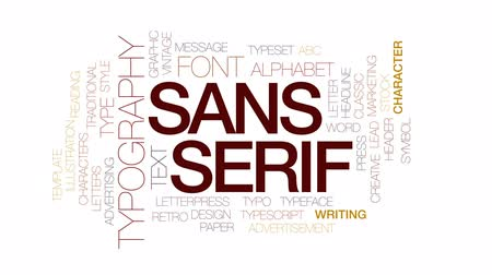 tipo baskı : Sans serif animated word cloud, text design animation. Kinetic typography. Stok Video