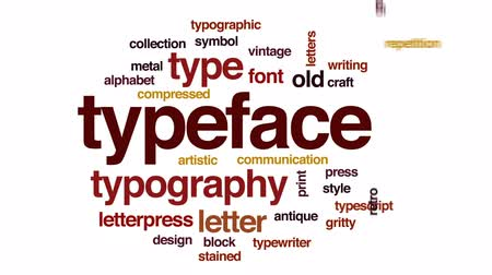 tipo baskı : Typeface animated word cloud, text design animation. Stok Video