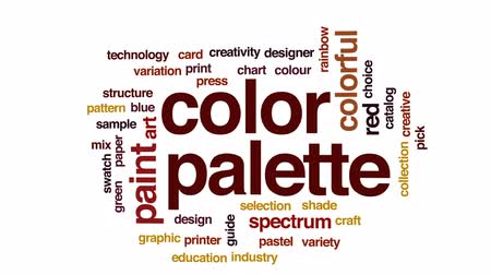 nyomtató : Color palette animated word cloud, text design animation.