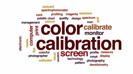 color swatch : Color calibration animated word cloud, text design animation.