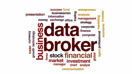трейдер : Data broker animated word cloud, text design animation. Стоковые видеозаписи