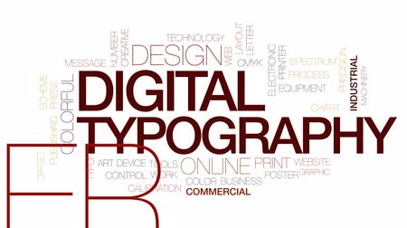 impressão digital : Digital typography animated word cloud, text design animation. Kinetic typography. Stock Footage
