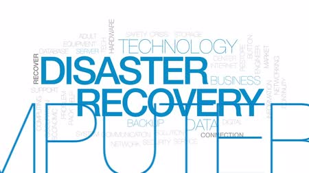 kurtarma : Disaster recovery animated word cloud, text design animation. Kinetic typography. Stok Video