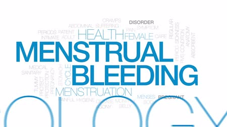 mensal : Menstrual bleeding animated word cloud, text design animation. Kinetic typography.