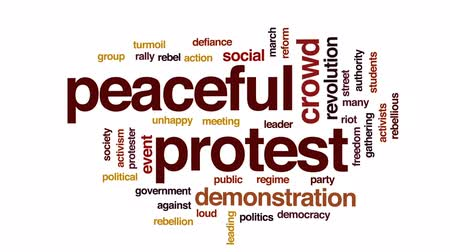 rali : Peaceful protest animated word cloud, text design animation. Stock Footage
