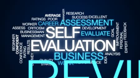self promotion : Self evaluation animated word cloud, text design animation. Stock Footage