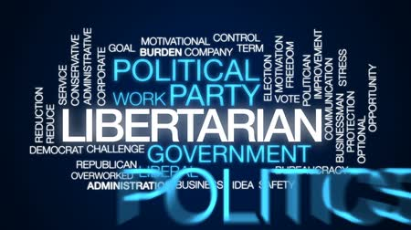ügyintézés : Libertarian animated word cloud, text design animation. Stock mozgókép