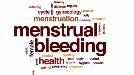 menstruáció : Menstrual bleeding animated word cloud, text design animation.
