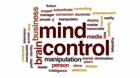 dominação : Mind control animated word cloud, text design animation.