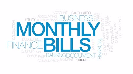 mensal : Monthly bills animated word cloud, text design animation. Kinetic typography Vídeos