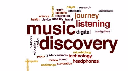 bez szwu : Music discovery animated word cloud, text design animation. Wideo