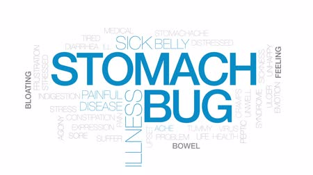 ishal : Stomach bug animated word cloud, text design animation. Kinetic typography