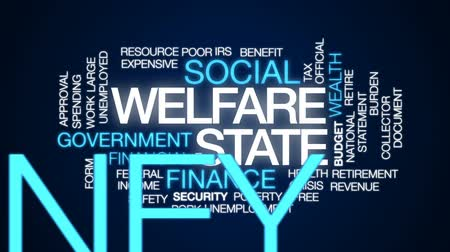 benefício : Welfare state animated word cloud, text design animation. Stock Footage