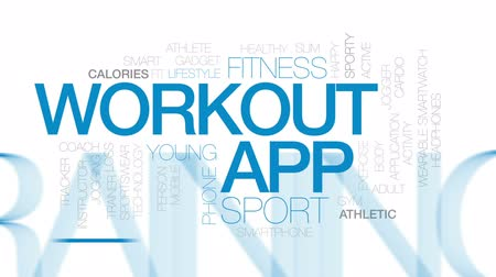 sportowiec : Workout app animated word cloud, text design animation. Kinetic typography