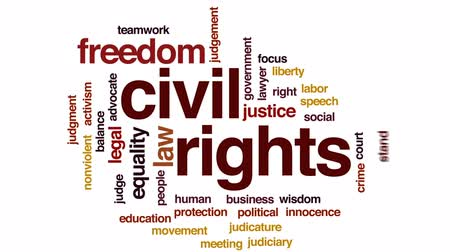 eşitlik : Civil rights animated word cloud, text design animation. Stok Video