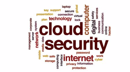 hacker computer : Cloud security animated word cloud, text design animation.