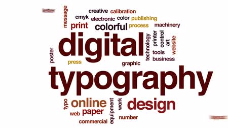 impressão digital : Digital typography animated word cloud, text design animation. Stock Footage