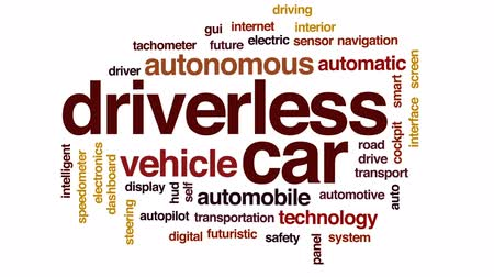 driverless : Driverless car animated word cloud, text design animation.