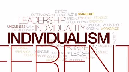 outstanding : Individualism animated word cloud, text design animation. Kinetic typography. Stock Footage