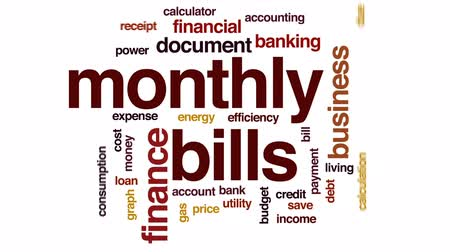 mensal : Monthly bills animated word cloud, text design animation.