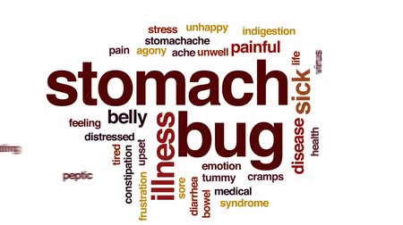 cramps : Stomach bug animated word cloud, text design animation.