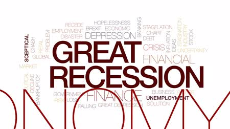 munkanélküliség : Great recession animated word cloud, text design animation. Kinetic typography.