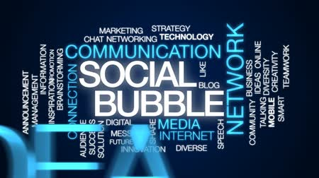 bez szwu : Social bubble animated word cloud, text design animation.