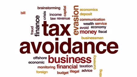 evasion : Tax avoidance animated word cloud, text design animation.